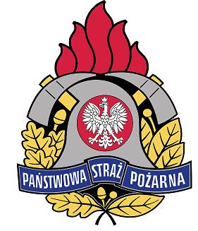 Na obrazku znajduje się godło Państwowej Straży Pożarnej. Zostało narysowane w 1992 roku, jest inspirowane zespołem elementów, które wchodziły w skład wyposażenia każdego strażaka.