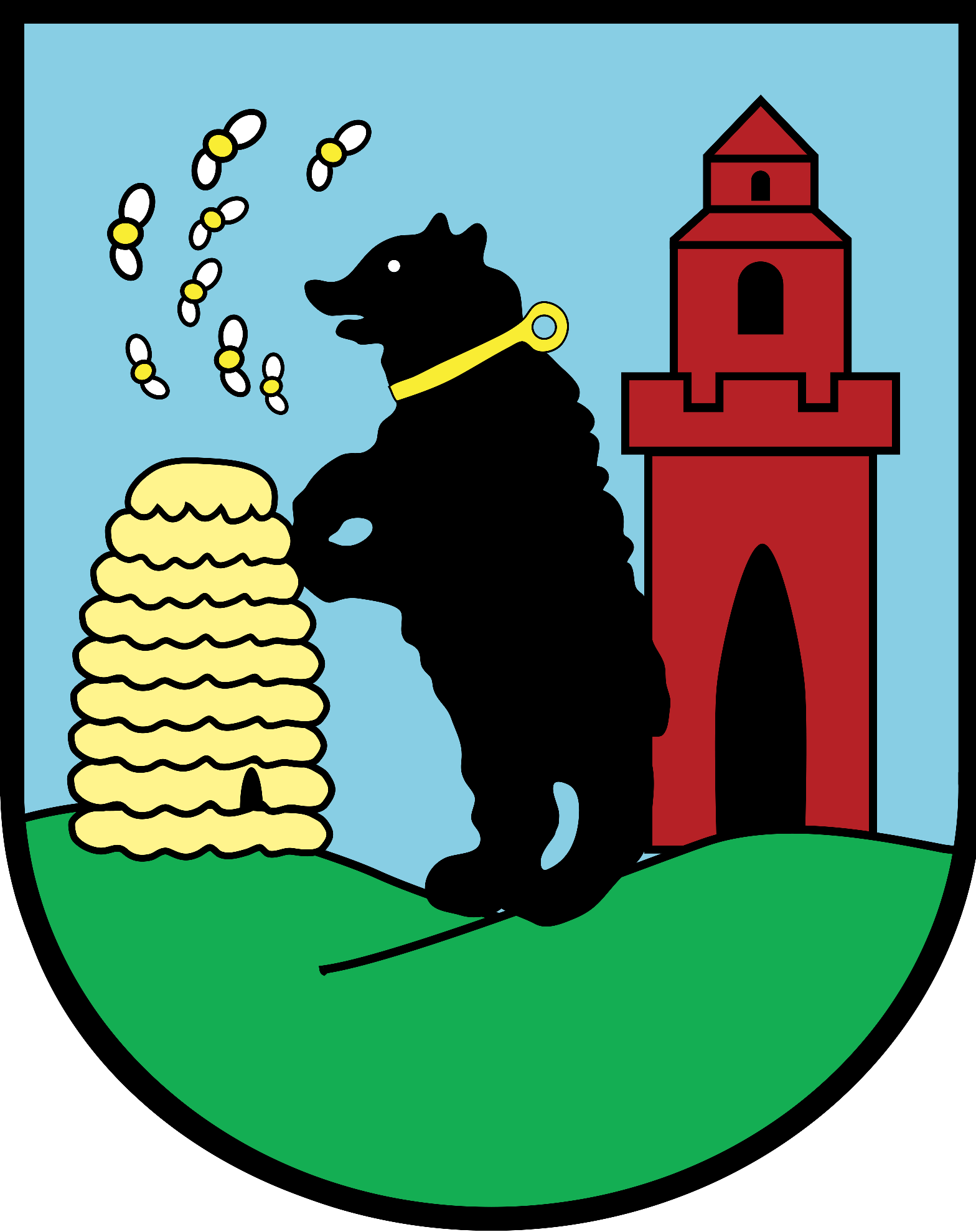 Herb gminy Bobrowice przedstawia w srebrnym polu tarczy herbowej, na zielonym wzgórzu znajduje się postać czarnego wspiętego niedźwiedzia. Po prawej stronie znajduje się złoty ul, po stronie lewej – czerwona wieża miejska z otwartą bramą