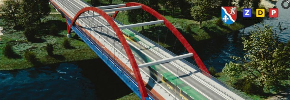 Wizualizacja nowego mostu przez Wisłokę w kierunku Zawierzbia Projekt mostu przez rzekę Wisłokę w ciągu drogi powiatowej nr 1180R w Dębicy.