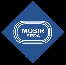 Logo MOSIR Reda Biały napis na niebieskim tle
