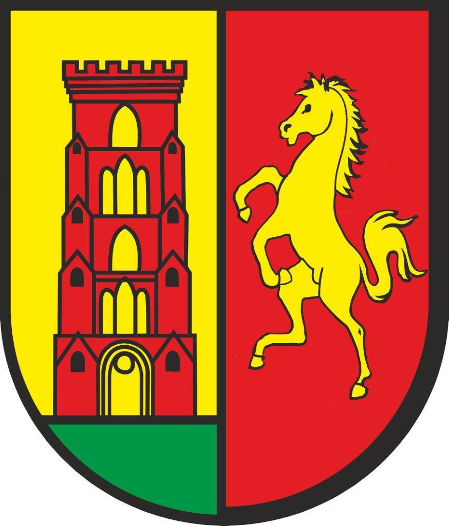 Herb Pępowa. Na tarczy dwudzielnej w słup w polu prawym złotym wieża kościelna czerwona na wzgórzu zielonym, w polu lewym czerwonym koń wspięty złoty
