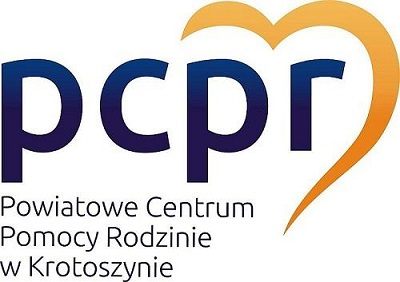 Granatowy napis PCPR z żółtym sercem