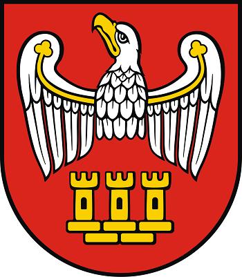 Herb powiatu chodzieskiego przedstawia w polu czerwonym uszczerbionego srebrnego orła wielkopolskiego ze złotym dziobem i przepaską, pod którym trzy złote wieże blankowane, stojące na pięciu złotych cegłach muru miejskiego.