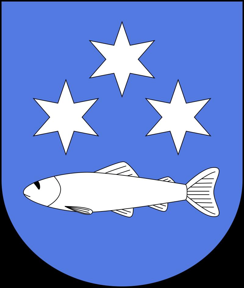 Herb przedstawiający na błękitnym tle poziomo ułożoną białą rybę a nad nią trzy złote gwiazdy sześcioramienne ułożone trójkątnie.
