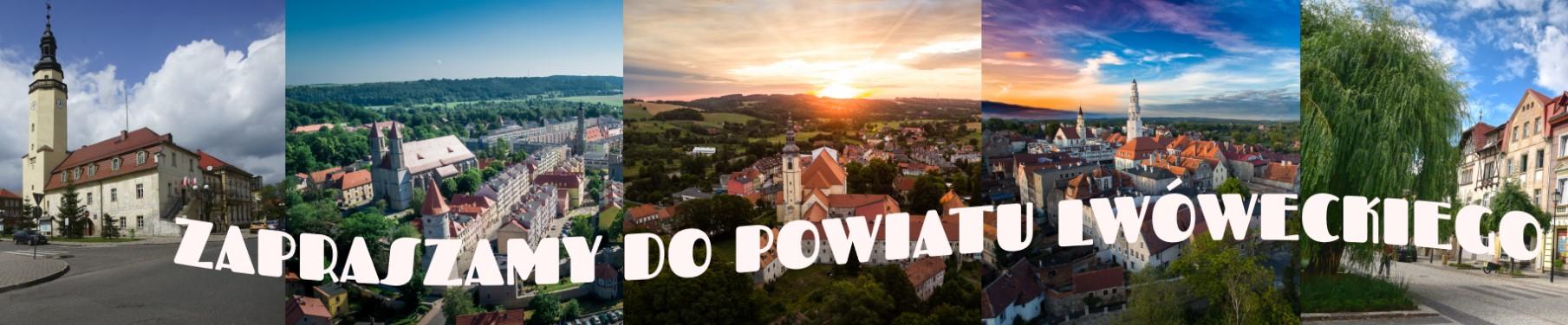 """Na zdjęciu widnieje kolaż z widokówkami z powiatu z napisem  """"Zapraszamy do Powiatu Lwóweckiego""""."""