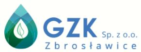 Logo z kroplą wody napisem GZK Sp. z o.o. Zbrosławice