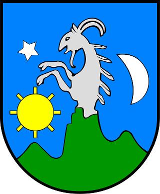 Herb gminy Łapsze Niżne – symbol gminy Łapsze Niżne, przedstawiający w polu błękitnym zielone trójwzgórze z wspiętym kozłem, flankowanym przez złote słońce, gwiazdę i srebrny półksiężyc.
