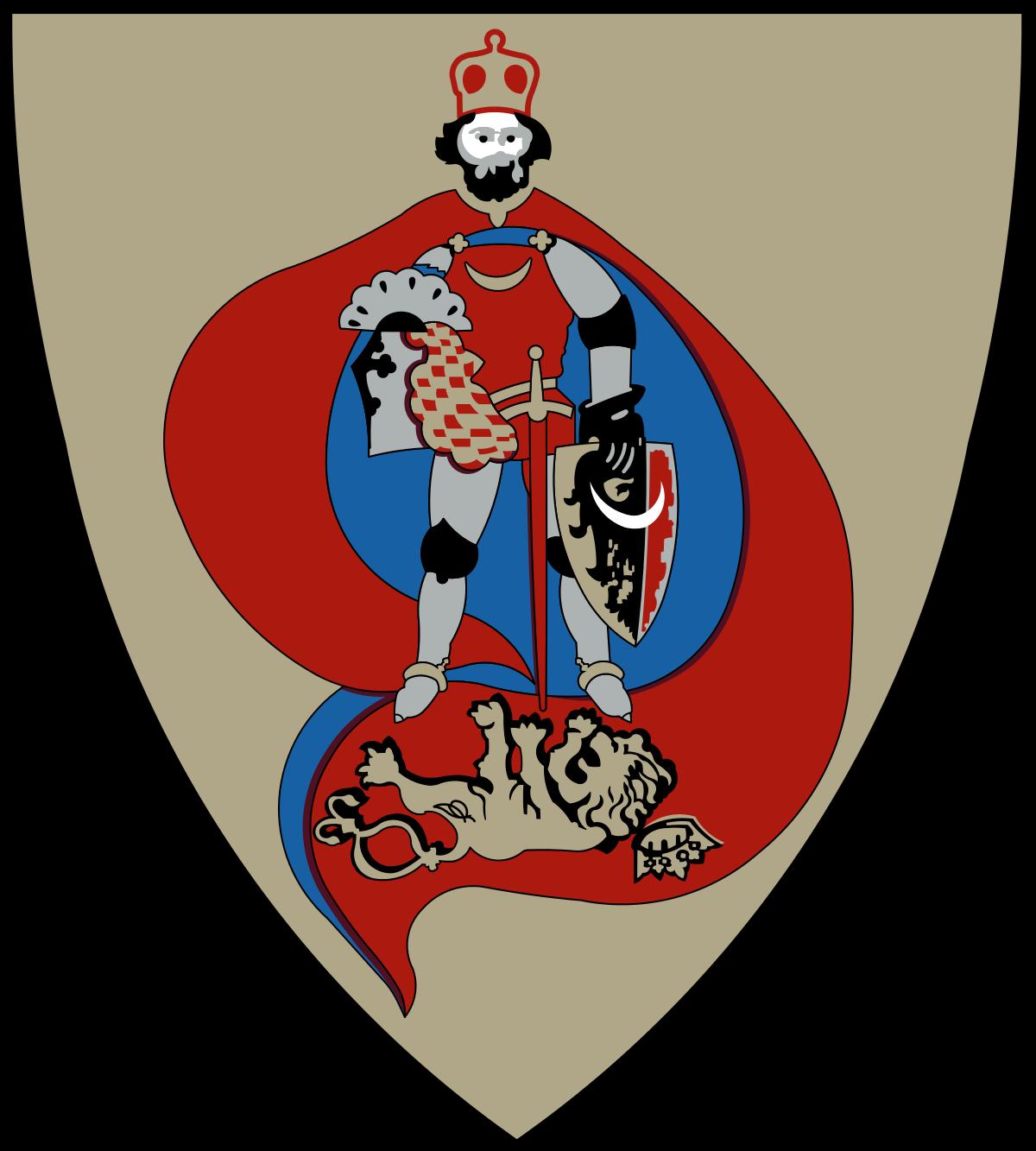 Na obrazku widnieje herb gminy Warta Bolesławiecka. Herb Gminy został ukształtowany poprzez umieszczenie godła w polu tarczy o kroju zwanym starofrancuskim, zbliżonym do powszechnie stosowanego w XII i XIV wieku na Śląsku. Pole tarczy pokryte złotem (metal) jest w swej centralnej części wypełnione obłą formą w barwie ciemnej czerwieni, przeciętą srebrną pionową dominatą. Jest to godło wyobrażające pionową postać rycerza w srebrnej zbroi stojącego w rozkroku, owianego wokół czerwonym płaszczem. Rycerz ma na głowie czerwoną mitrę książęcą w złotym pasie konstrukcyjnym. Pancerz jego zakrywa tunika w barwie czerwieni. Płaszcz u szyi jest umocowany złotym sznurem z zapinkami. U złotego pasa jest przytroczony miecz o złotej rękojeści z czerwoną pochwą. Rycerz w pierwszej ręce okrytej czarną rękawicą trzyma tarczę o srebrnym polu. W tarczy godłem jest orzeł dzielony w słup, którego prawa strona (heraldycznie) jest barwy czarnej, lewa zaś – ciemnej czerwieni. W prawej ręce (dolna część z dłonią – niewidoczna) rycerz trzyma hełm garnczkowy, którego część przykrywa chusta (labry) zdobna w biało-czerwoną szachownicę (biało-srebrną) a u szczytu hełmu jest rozpięty klejnot w kształcie wzdłużnego grzebienia (rozłożonego wachlarza), uformowany z krótko przyciętych pawich piór. Pióra w barwie zieleni i czerwono-błękitnymi oczkami. Całość na srebrnym podkładzie. Bezpośrednim tłem pod srebrną zbroją jest spód czerwonego płaszcza – wykładany w barwie błękitu. Rycerz ma czarne nakolanniki i nałokietnik oraz czarną rękawicę i czarne podkładki pod złote ostrogi. Jego – pokryta gęstym, czarnym zarostem twarz jest barwy cielistej. U stóp stojącego w rozkroku rycerza – na dolnej ciemnoczerwonej płaszczyźnie płaszcza – leży na grzbiecie z łapami do góry złoty lew, którego ogon powiązany w węzły wije się z linią płaszcza. Pod głową lwa odwrócona otwarta (złota) królewska korona, która się potoczyła przy upadku zwierzęcia – to symbol wielu zwycięstw myśli i oręża rycerza, którego postać uosabi