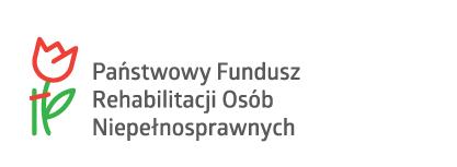 """Logo Państwowego Funduszu Rehabilitacji Osób Niepełnosprawnych (naszkicowany czerwony tulipan z zieloną łodygą, po prawej stronie napis """"Państwowy Fundusz Rehabilitacji Osób Niepełnosprawnych"""" szarą czcionką)"""