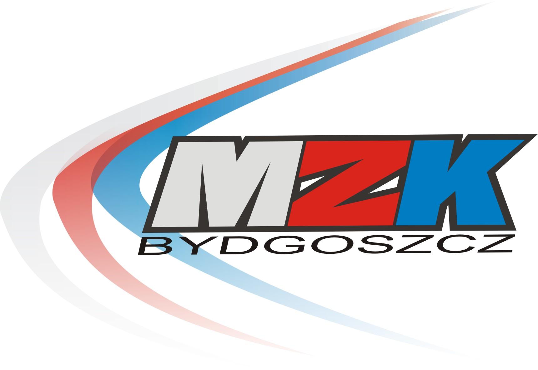 Obrazek przedstawia logo MZK    Sp. z o.o. w Bydgoszczy. Są to kolorowe wielkie litery M, Z i K w czarnej obwódce (m jest białe, z jest czerwone i K jest niebieskie). Pod literami znajduje się czarny napis Bydgoszcz.