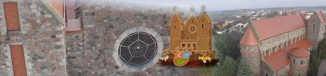 Banner przedstawia kolaż zdjęć kościoła z kamienia. Jest to kościół Parafii Świętego Bartłomieja Apostoła w Troszynie.
