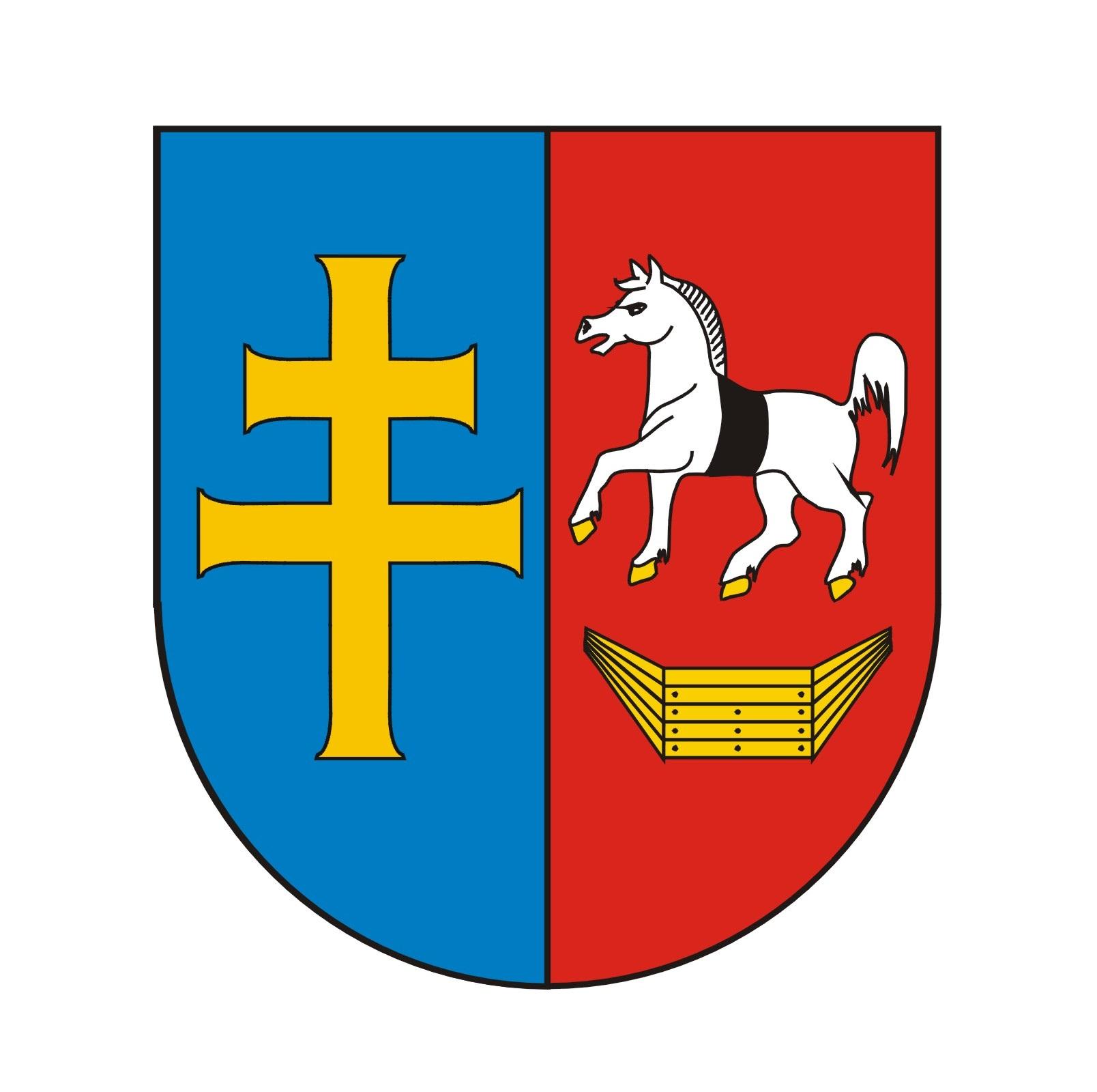 Herb Powiatu Włoszczowa, protestancki krzyż oraz koń z łodzią